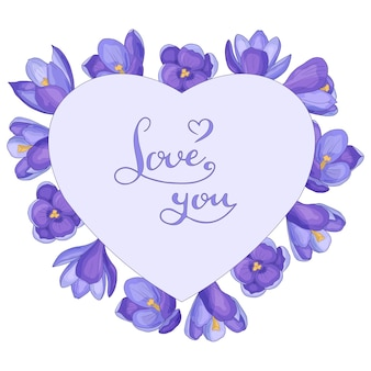 Serce z ręcznie rysowane wiosenne krokusy i tekst kocham cię, ramka, na białym tle.