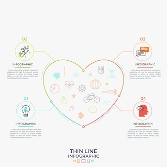 Serce z symbolami medycyny, opieki zdrowotnej i zdrowego stylu życia w środku połączone z 4 okrągłymi ponumerowanymi elementami, płaskimi ikonami i miejscem na tekst. szablon projektu plansza. ilustracja wektorowa.
