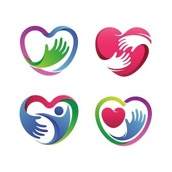 Serce zdrowy zestaw logo wektor