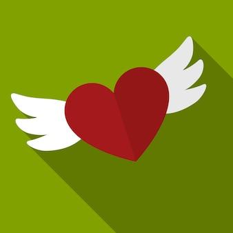Serce ze skrzydłami płaska ikona ilustracja na białym tle wektor symbol znak