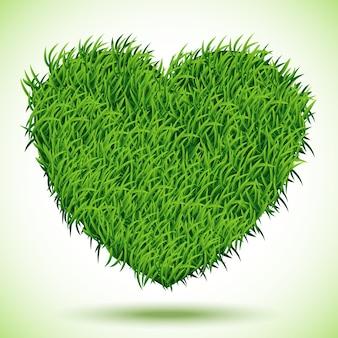 Serce zielona trawa, ilustracja