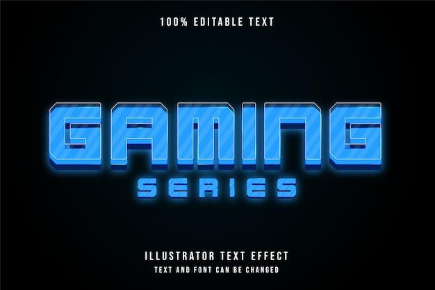Seria gier, 3d edytowalny efekt tekstowy niebieski gradacja w nowoczesnym stylu
