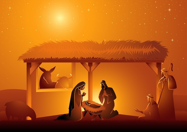 Seria ilustracji biblijnych, szopka świętej rodziny w stajni. motyw bożego narodzenia