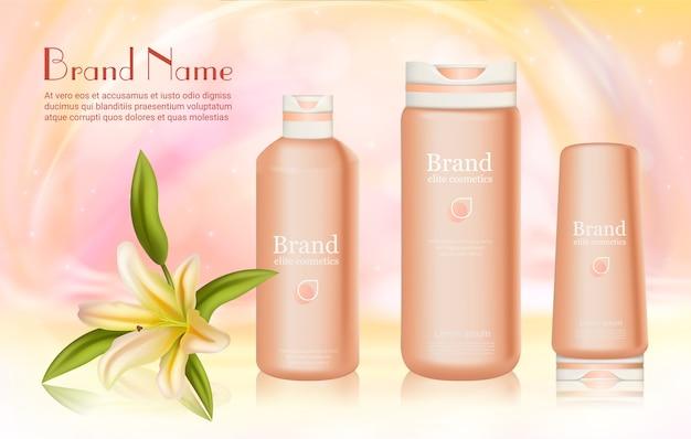 Seria kosmetyków do pielęgnacji ciała z ilustracją wektorową składnika lilii, realistyczne butelki kosmetyczne 3d na krem, balsam, żel pod prysznic lub produkt do pielęgnacji szamponu