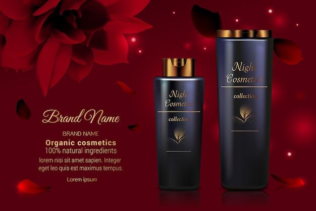Seria kosmetyków krem do butelek produkt do pielęgnacji ciała i twarzy z czerwonymi kwiatami