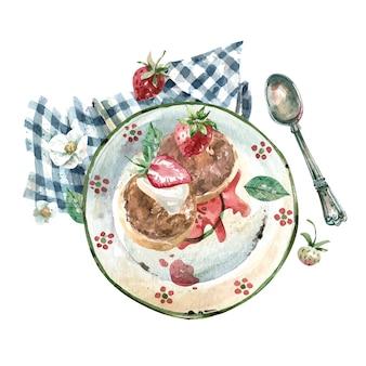 Serniki z truskawkami i śmietaną na talerzu