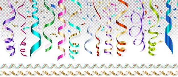 Serpentyn w różnych kolorach i latające konfetti na przezroczystym tle.