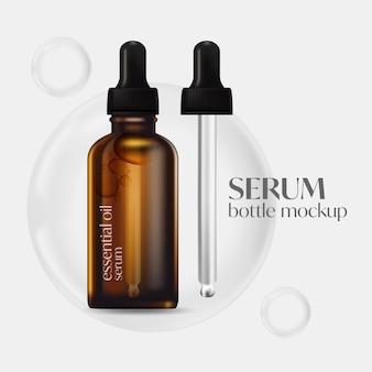Serum butelki makieta, 3d rendering