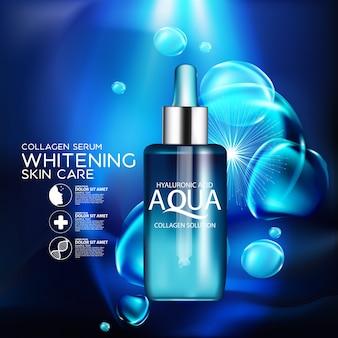 Serum kolagenowe aqua skin i koncepcja tła kosmetyk do pielęgnacji skóry.