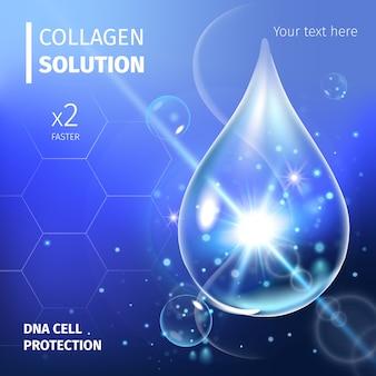 Serum kolagenowe i witaminy w tle koncepcja kosmetyk do pielęgnacji skóry.