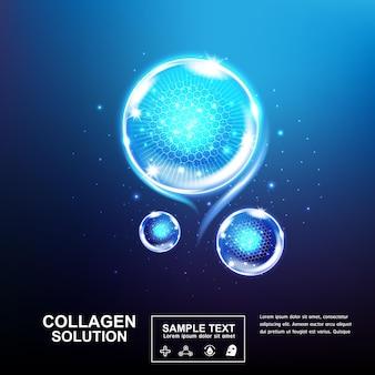 Serum kolagenowe lub kulka witaminowa i bąbelek na niebieskim tle dla produktów do pielęgnacji skóry.