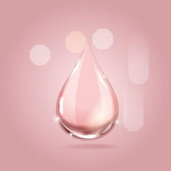 Serum różowa kropla dla piękna i kosmetycznego pojęcia