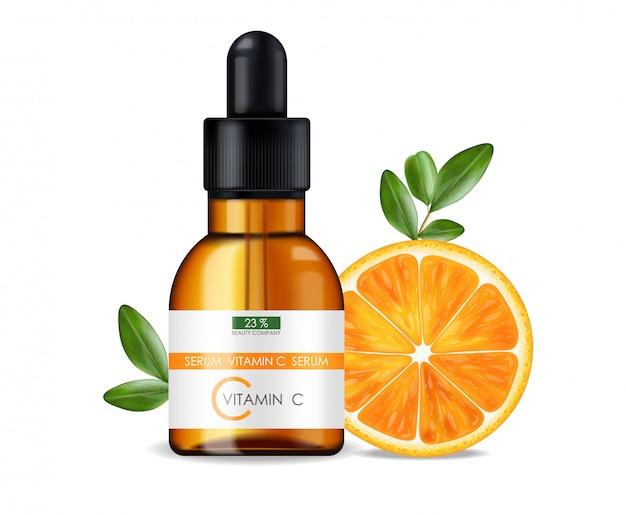 Serum witaminy c, firma kosmetyczna, butelka do pielęgnacji skóry, realistyczne opakowanie i świeży cytrus na białym tle, esencja zabiegowa, kosmetyki