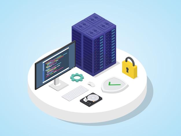 Serwer broniony tarczą z kłódką. koncepcja bezpieczeństwa serwera izometryczny 3d projekt nowoczesnego stylu mieszkania