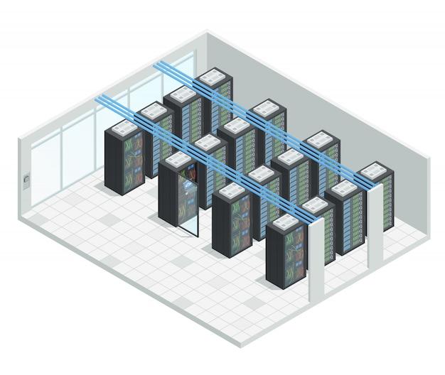 Serwer datacenter cloud computing izometryczny skład wnętrza