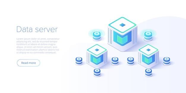 Serwer hostingowy izometryczny. abstrakcyjne centrum danych lub łańcuch bloków.