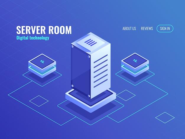 Serwerownia, duże centrum przetwarzania danych i baza danych, komputerowa technologia cyfrowa