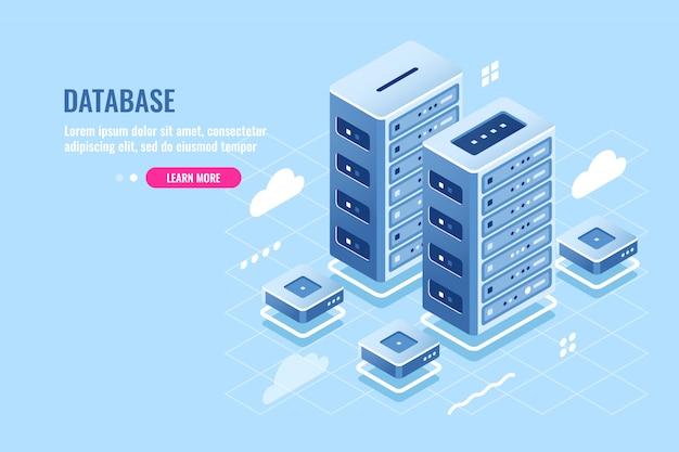 Serwerownia, hosting stron internetowych, przechowywanie danych w chmurze, ikona izometryczna bazy danych i centrum danych