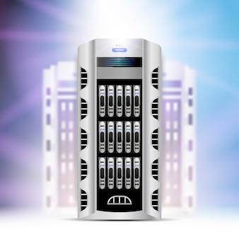 Serwery danych w centrum przetwarzania danych w chmurze