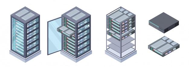 Serwery izometryczne, wektor magazynów danych. 3d sprzęt komputerowy na białym tle