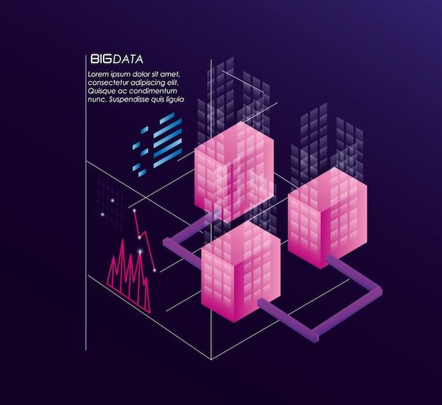 Serwery sieciowe z ikonami centrum danych