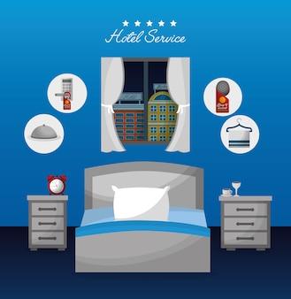 Serwis hotelowy sypialnia łóżko nocne stoliki budzik kawa