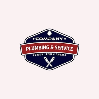 Serwis hydrauliczny w stylu vintage i logo