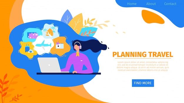 Serwis internetowy biura podróży flat vector website
