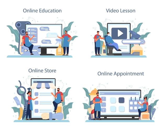 Serwis internetowy lub zestaw platform fryzjerskich. pomysł na pielęgnację włosów i brody. nożyczki i szczotka, szampon i proces strzyżenia. edukacja online, spotkanie, lekcja, sklep.