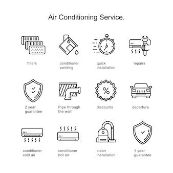 Serwis klimatyzacji. ikony linii obrysu o dwa piksele.