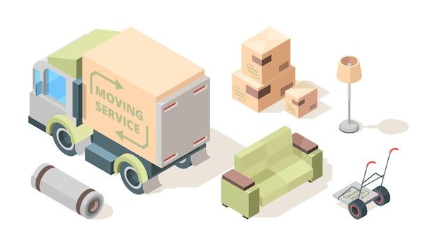 Serwis ładowacza. ładowarki firmy handlowej przenoszące i transportujące meble pojazd ciężarówka obsługa ludzi wektor izometryczny zestaw. ilustracja profesjonalnego transportu do relokacji
