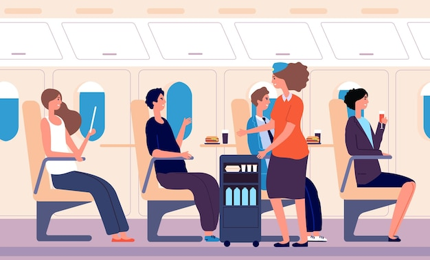 Serwis lotniczy. transport ludzi, stewardessa podawała napoje i jedzenie. kobieta pije mężczyzn jedzenie