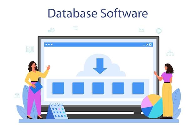 Serwis lub platforma internetowa administratora bazy danych. kobieta i mężczyzna postać pracująca w centrum danych. oprogramowanie baz danych. ilustracja na białym tle wektor