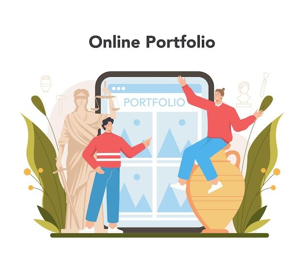 Serwis lub platforma internetowa dla konserwatorów. artysta odnawia stary posąg, malarstwo