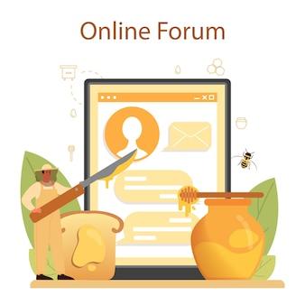 Serwis lub platforma internetowa dla pszczelarza lub pszczelarza. profesjonalny rolnik