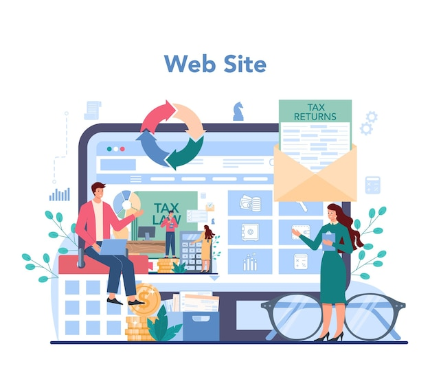 Serwis Lub Platforma Internetowa Inspektora Podatkowego Premium Wektorów