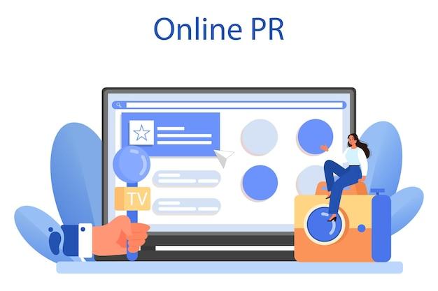 Serwis lub platforma relacji z mediami. produkcja wiadomości
