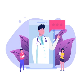 Serwis medyczny, ekran aplikacji. koncepcja online lekarza.