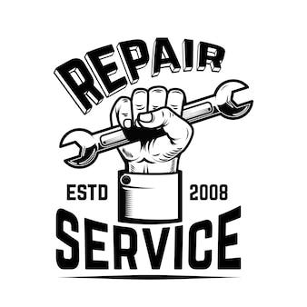 Serwis naprawczy. ludzka ręka z kluczem. element na logo, etykietę, godło, znak. wizerunek
