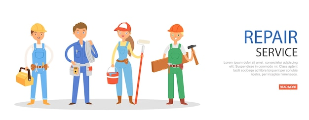 Serwis naprawczy, napis, robotnik, sprzęt roboczy, pomoc mobilna, ilustracja, biały. mężczyźni, kobiety, profesjonaliści, utrzymanie biznesu budowlanego