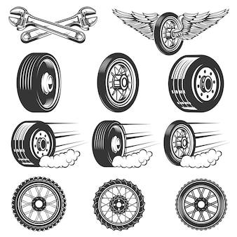 Serwis opon. zestaw ilustracji opon samochodowych na białym tle. elementy logo, etykiety, godło, znak. ilustracja