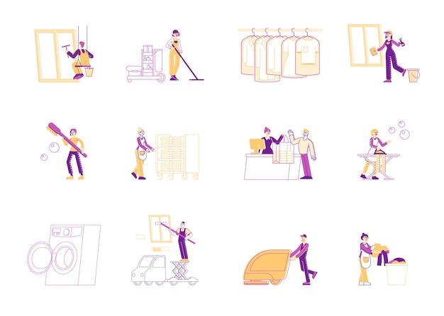 Serwis profesjonalnych sprzątaczy w pracy zestaw
