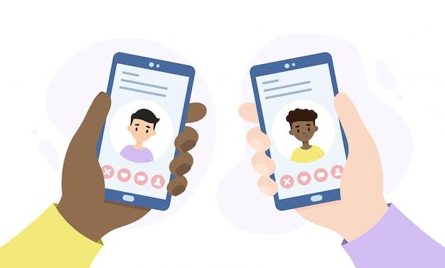 Serwis randkowy dla społeczności lgbtq. ludzie spotykają się za pośrednictwem internetowej aplikacji randkowej. smartfony trzymając się za ręce.