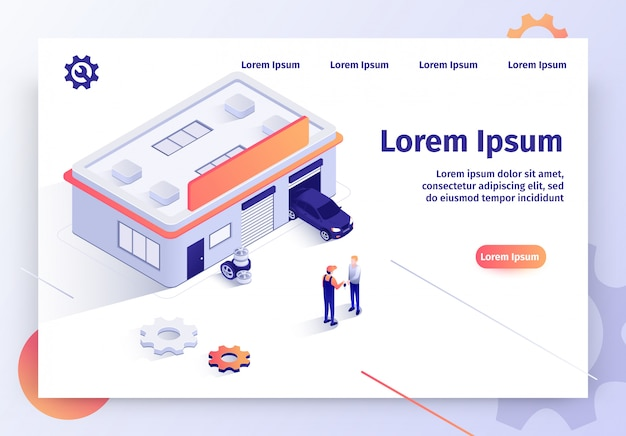 Serwis samochodowy isometric vector landing page