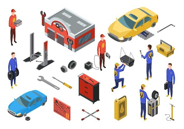 Serwis samochodowy izometryczny. element do naprawy usług samochodowych.