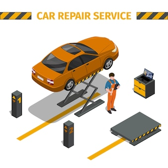 Serwis samochodowy lub serwis opon izometryczny ilustracja 3d