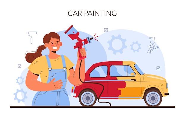 Serwis samochodowy. mechanik w mundurze maluje karoserię pojazdu. profesjonalnie pomaluj samochód na inny kolor za pomocą pistoletu natryskowego. płaska ilustracja wektorowa