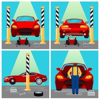Serwis samochodowy. naprawa i diagnostyka samochodów. auto maintanence. serwisant w pracy. ilustracji wektorowych