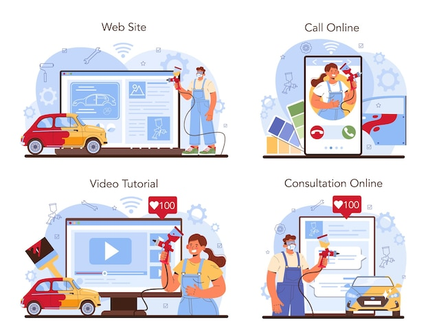 Serwis samochodowy online lub zestaw platform. mechanik w jednolitej farbie