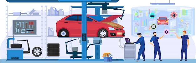 Serwis samochodowy, profesjonalna konserwacja i diagnostyka, osoby korzystające z nowoczesnych technologii, ilustracja